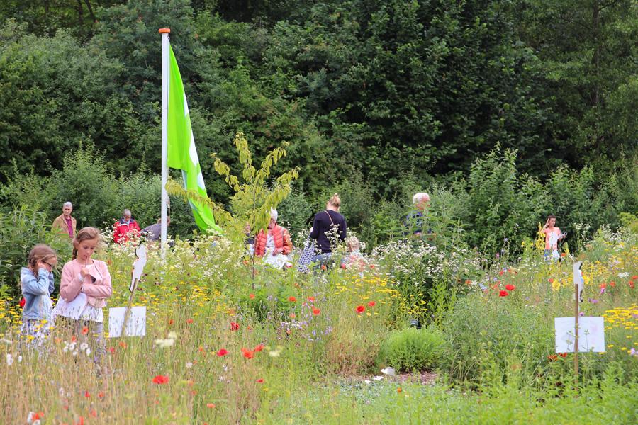 Bezoekers in de volop bloeiende wilde plantentuin